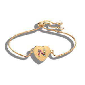 "Gold Heart Letter ""N"" Initial Name CZ Bracelet"